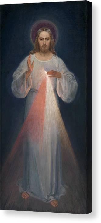 Eugene Kazimierowski Canvas Print featuring the painting Divine Mercy by Eugene Kazimierowski