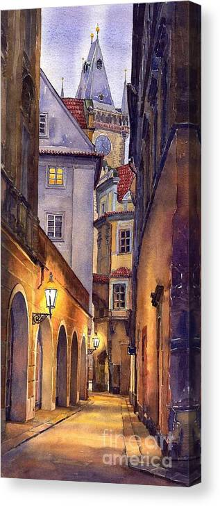 Cityscape Canvas Print featuring the painting Prague Old Street by Yuriy Shevchuk