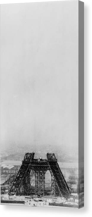 1880-1889 Canvas Print featuring the photograph Eiffel Construction 4 by Henry Guttmann Collection
