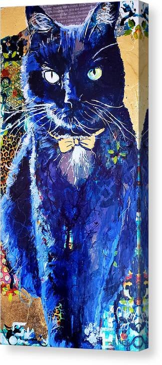 Cat Canvas Print featuring the painting His Majesty by Goddess Rockstar