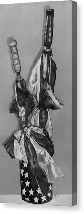 Umbrellas Canvas Print featuring the photograph Patriotic Umbrellas Black And White by Rob Hans