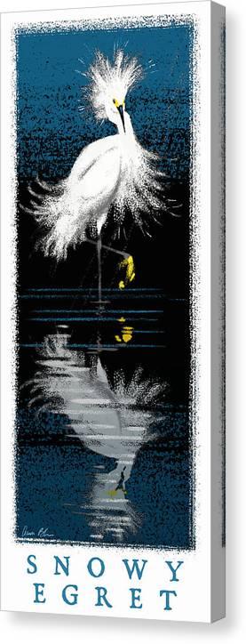 Birds Canvas Print featuring the digital art Snowy Egret by Aaron Blaise