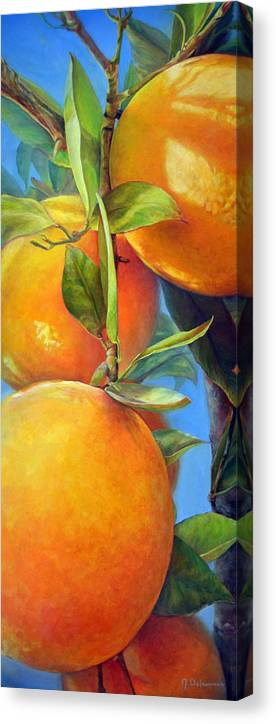 Acrylic Canvas Print featuring the painting Tombee d Oranges by Muriel Dolemieux