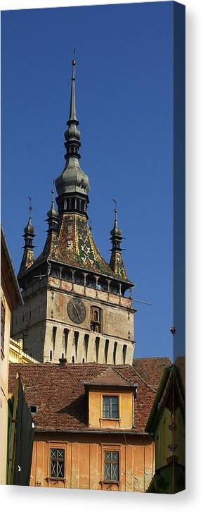 Old Town Canvas Print featuring the photograph Sighisoara clock tower 2 by Amalia Suruceanu