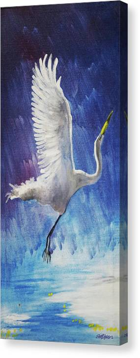 Egret Canvas Print featuring the painting The Egret by Seth Weaver