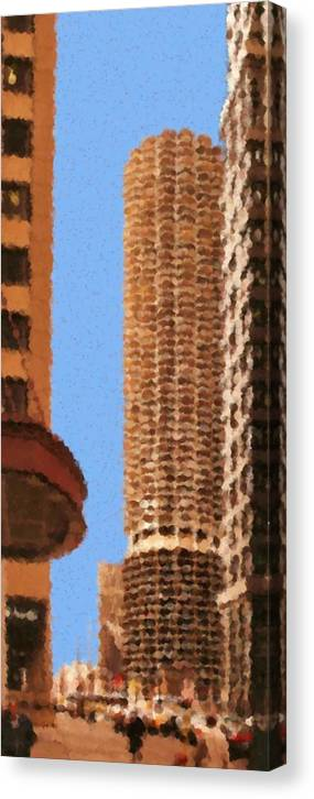 Pancakes Of Chicago Canvas Print featuring the mixed media Pancakes of Chicago by Asbjorn Lonvig