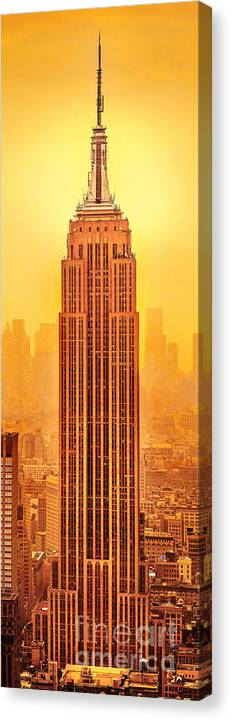 Empire State Building Canvas Print featuring the photograph Golden Empire State by Az Jackson