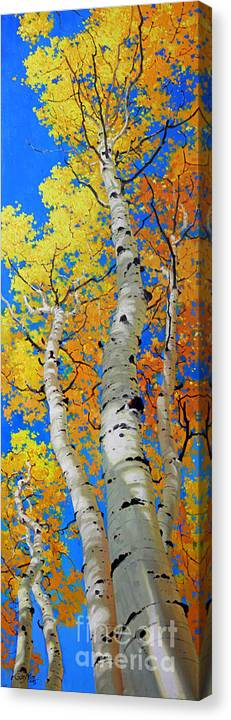 Fall Aspen Canvas Print featuring the painting Tall Aspen Trees by Gary Kim