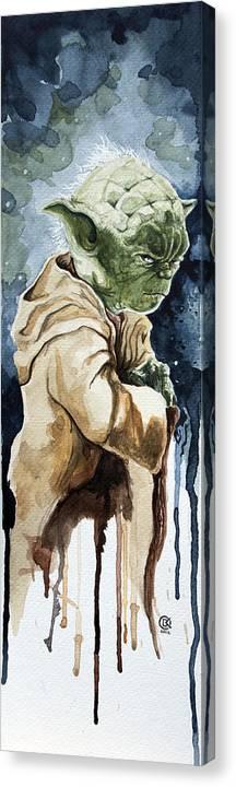 Star Wars Canvas Print featuring the painting Yoda by David Kraig