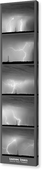 Lightning Canvas Print featuring the photograph Lightning Strikes 5 Image Vertical Progression by James BO Insogna