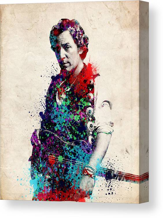 Bruce Springsteen Canvas Print featuring the painting Bruce Springsteen by Bekim M