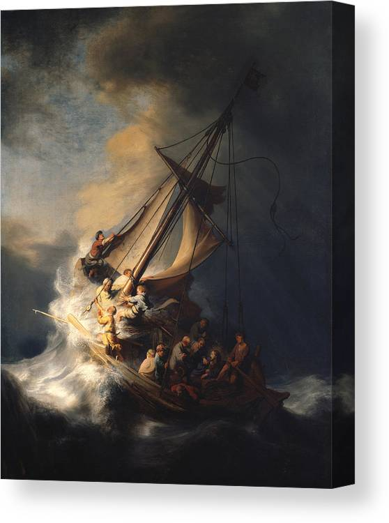 Rembrandt Van Rijn Canvas Print featuring the painting Christ In The Storm On The Sea Of Galilee by Rembrandt Van Rijn