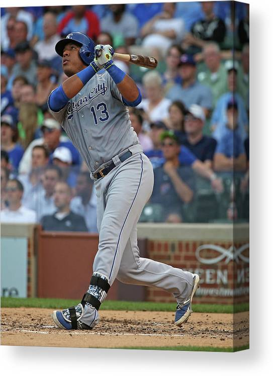 Salvador Perez Diaz Canvas Print featuring the photograph Kansas City Royals V Chicago Cubs by Jonathan Daniel