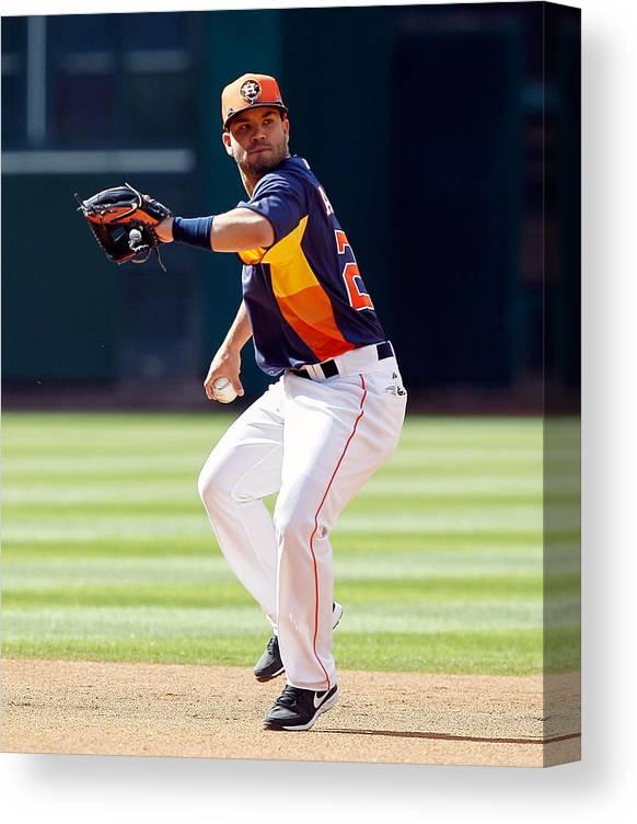 American League Baseball Canvas Print featuring the photograph Oakland Athletics V Houston Astros by Bob Levey