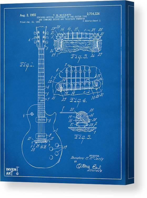 Guitar Canvas Print featuring the digital art 1955 McCarty Gibson Les Paul Guitar Patent Artwork Blueprint by Nikki Marie Smith