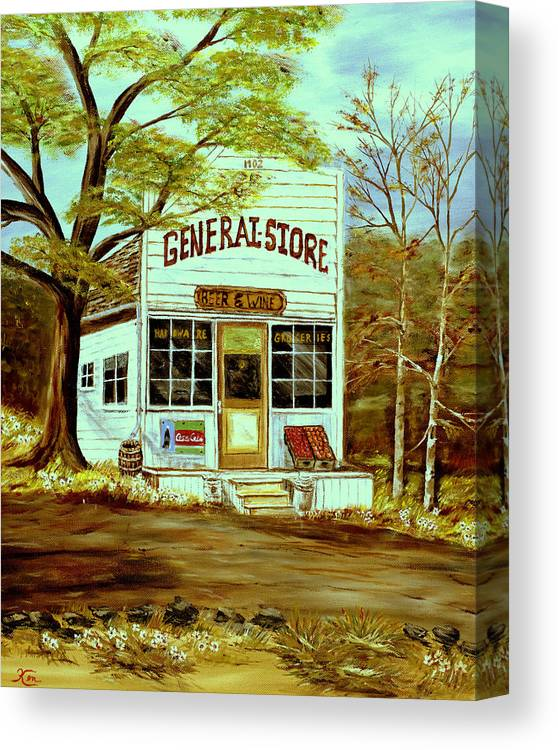 Landscape Canvas Print featuring the painting General Store 1902 by Kenneth LePoidevin