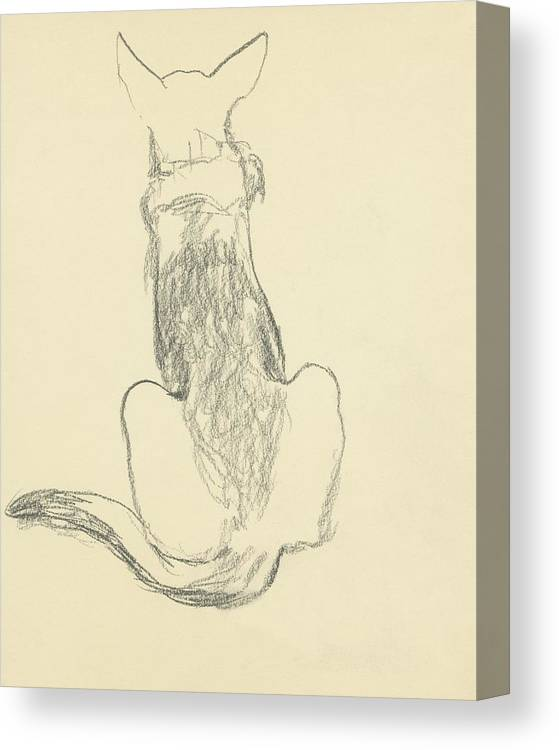 Animal Canvas Print featuring the digital art A German Shepherd by Carl Oscar August Erickson