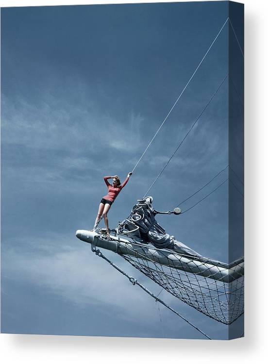 Accessories Canvas Print featuring the photograph A Model On A Ship by Toni Frissell