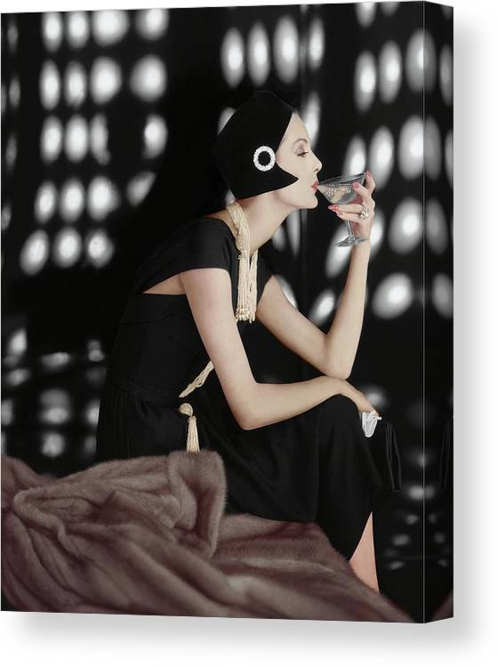 Fashion Canvas Print featuring the photograph A Model Wearing A Branell Dress by Karen Radkai
