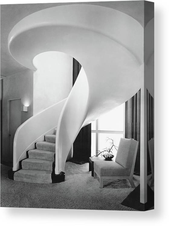 Interior Canvas Print featuring the photograph A Spiral Staircase by Hedrich-Blessing