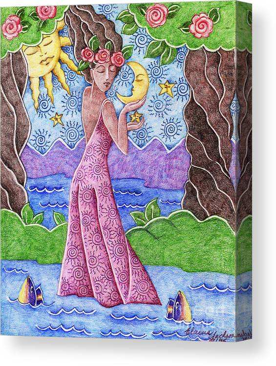 Figurative Canvas Print featuring the drawing Adorable Moon by Elaine Jackson