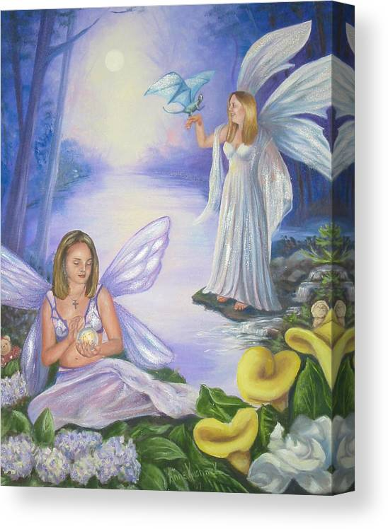 Fairies Canvas Print featuring the painting Alyssa and Victoria by Anne Kushnick