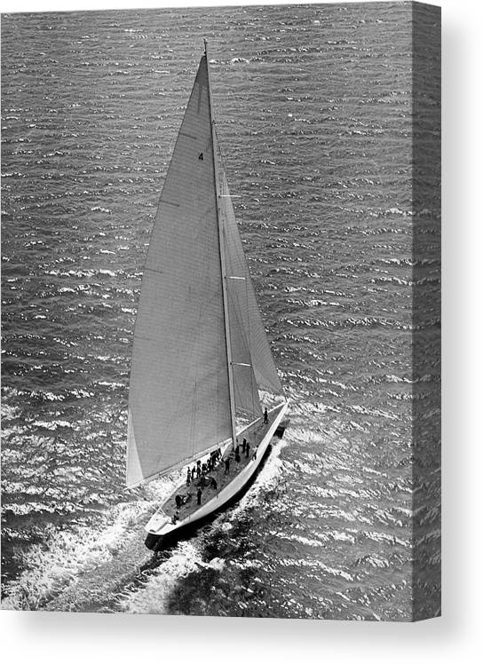 1937 Canvas Print featuring the photograph America's Cup Rainbow Yacht by Underwood Archives