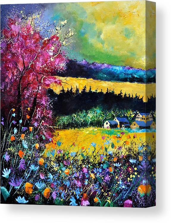 Landscape Canvas Print featuring the painting Autumn flowers by Pol Ledent