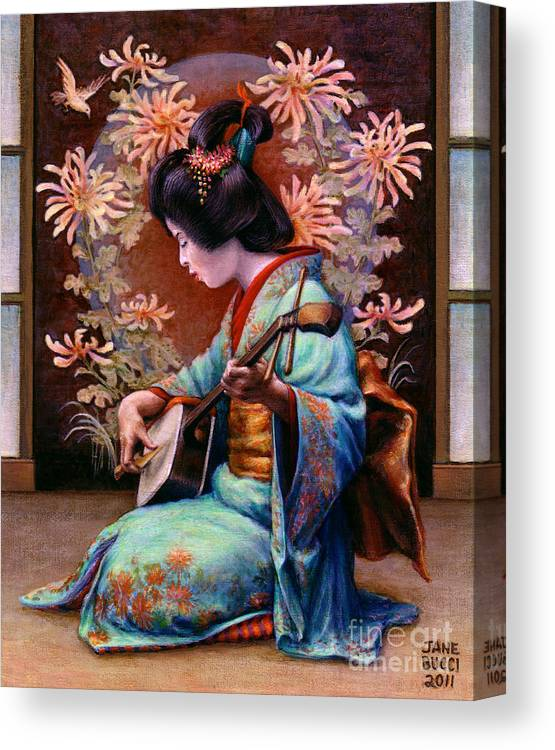 Woman Canvas Print featuring the painting Autumn Song by Jane Bucci