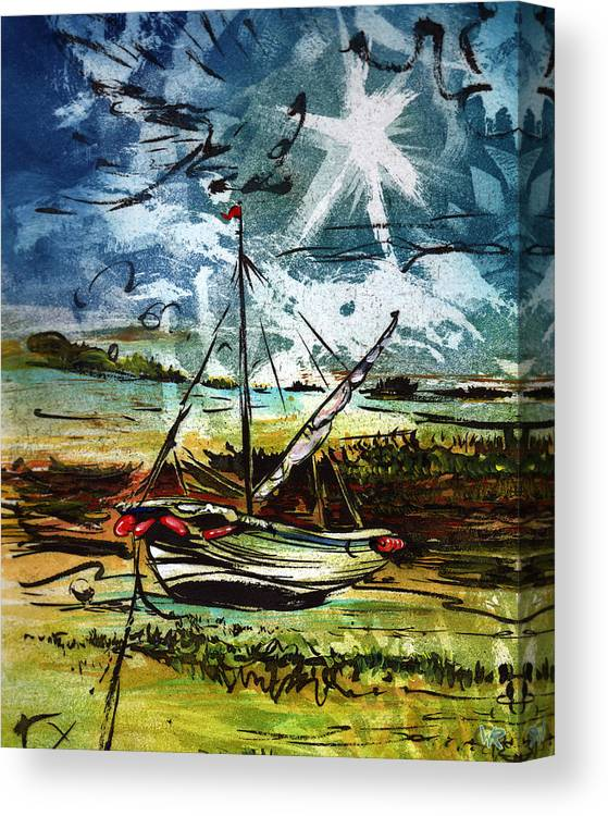Seascape Canvas Print featuring the mixed media Awaiting the Tide by William Rowsell