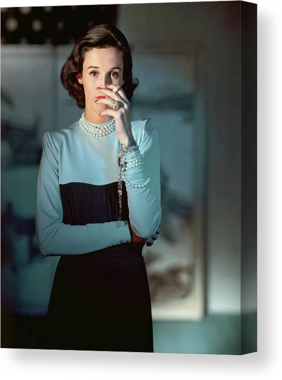 Society Canvas Print featuring the photograph Babe Paley Wearing A Traina-norell Dress by Horst P. Horst