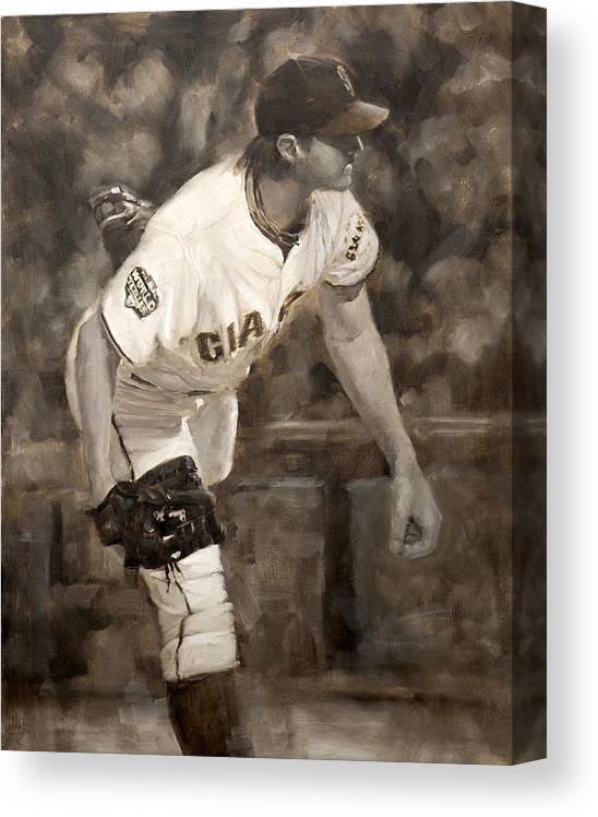 Barry Zito Canvas Print featuring the painting Barry Zito - Redemption by Darren Kerr