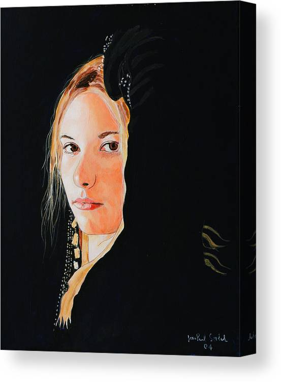 Black Princess Canvas Print featuring the painting Black Princess - Eyes of Fire by Jean-Paul Setlak