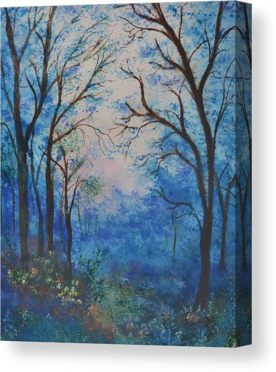 Watercolor Canvas Print featuring the painting Blue Forest by Leo Gordon