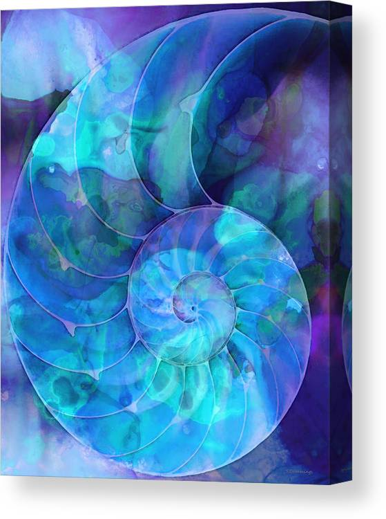 Blue Canvas Print featuring the painting Blue Nautilus Shell By Sharon Cummings by Sharon Cummings