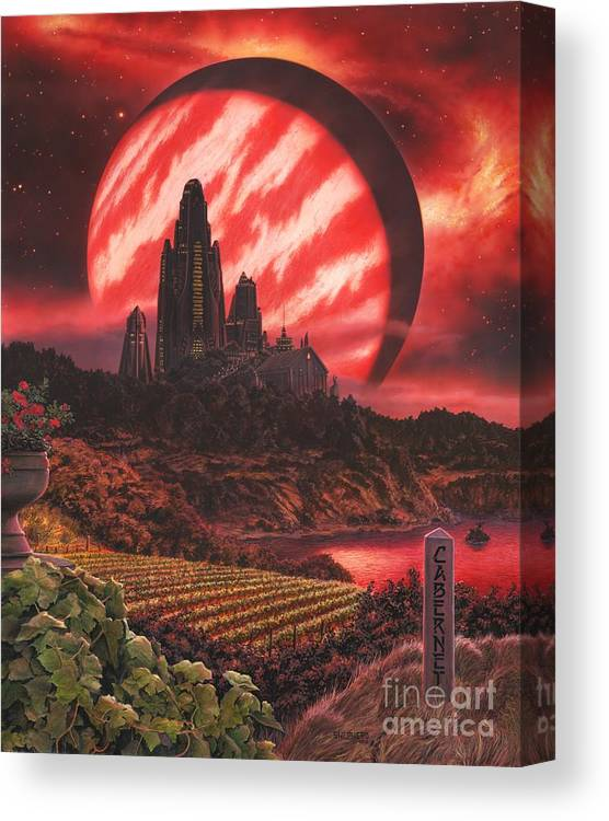 Cabernet Canvas Print featuring the painting Cabernet Wine Country Fantasy by Stu Shepherd