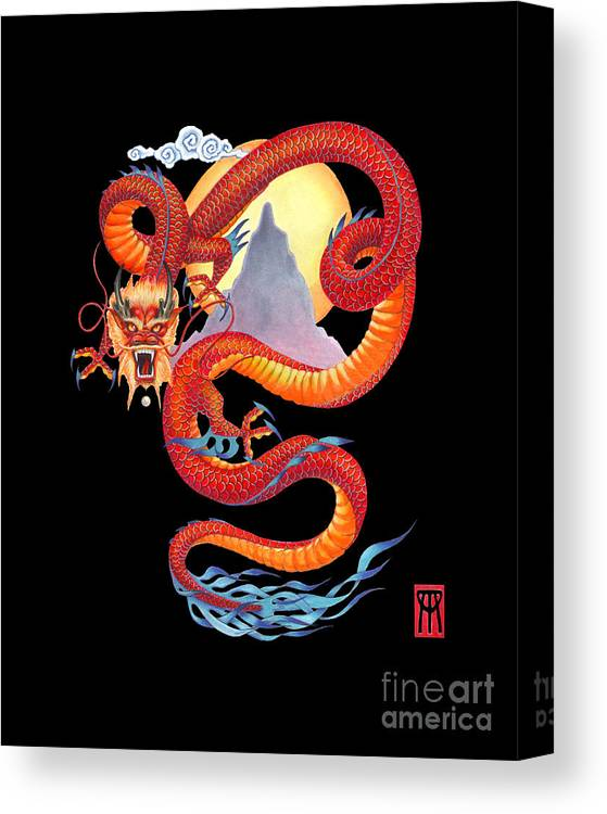 Dragon Canvas Print featuring the painting Chinese Dragon on Black by Melissa A Benson