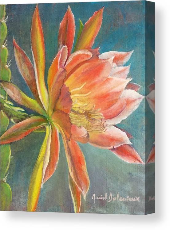 Acrylic Canvas Print featuring the painting Cierge en Fleur by Muriel Dolemieux