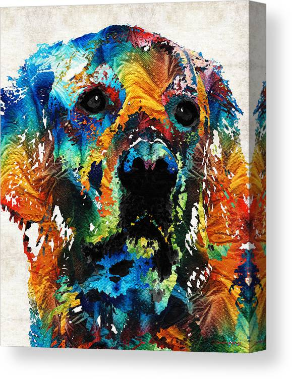 Dog Canvas Print featuring the painting Colorful Dog Art - Heart And Soul - By Sharon Cummings by Sharon Cummings