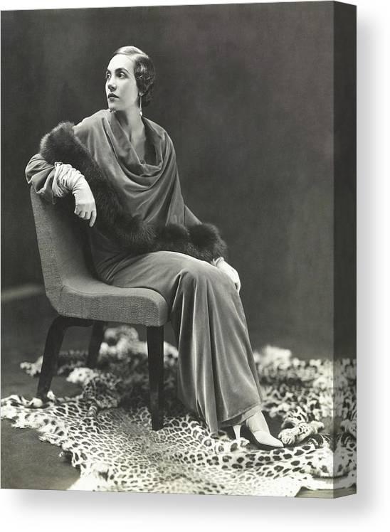 Fashion Canvas Print featuring the photograph Countess Celani Lepri Wearing A Velvet Dress by George Hoyningen-Huene