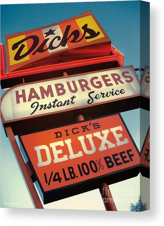 Burgers Canvas Print featuring the digital art Dick's Hamburgers by Jim Zahniser