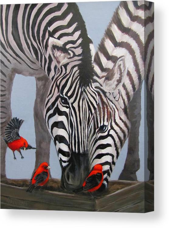 Zebra Canvas Print featuring the painting Dinner Guests by Karen Ilari