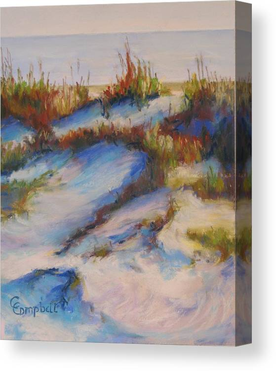 Beach Dunes Canvas Print featuring the painting Drifting Dunes by Cecelia Campbell