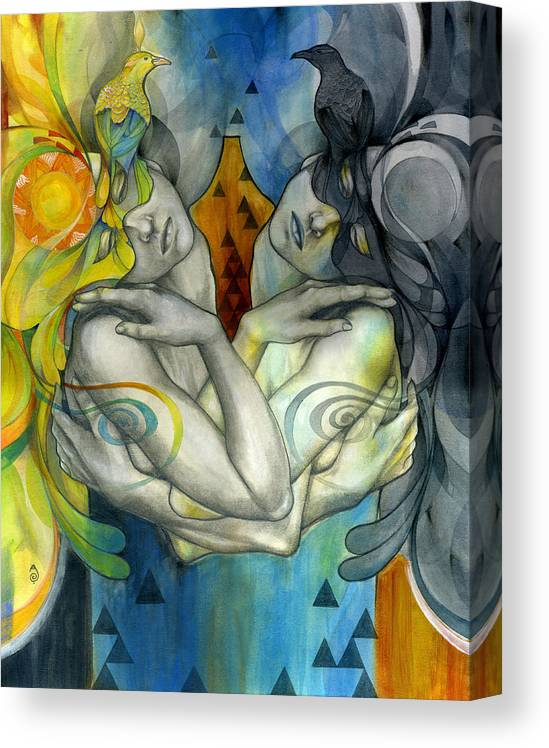 Duality Canvas Print featuring the painting Duality by Patricia Ariel