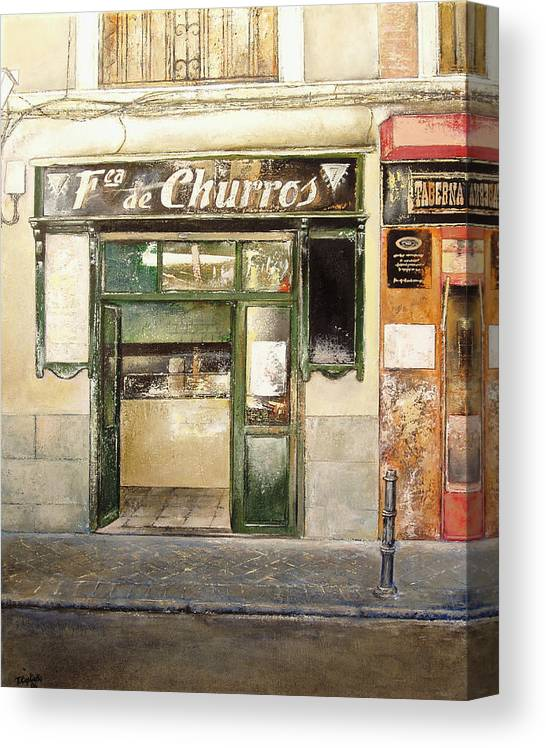 Fabrica Churros Canvas Print featuring the painting Fabrica de churros by Tomas Castano