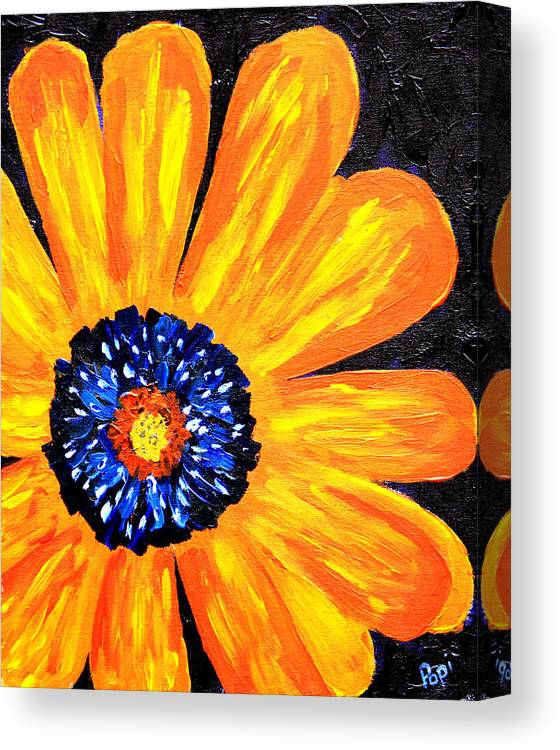 Yellow Canvas Print featuring the painting Flower Power 2 by Paul Anderson