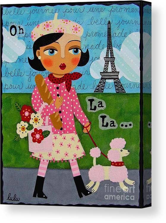 French Girl Walking Pink Poodle Canvas Print Canvas Art By Lulu Mypinkturtle