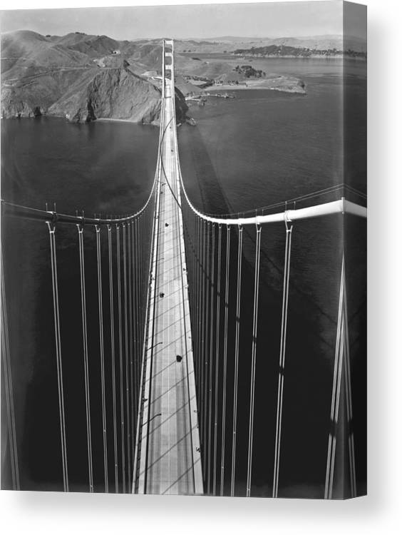 1930's Canvas Print featuring the photograph Golden Gate Bridge In 1937 by Underwood Archives