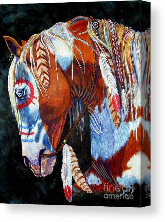 Indian Canvas Print featuring the painting Indian War Pony by Amanda Hukill