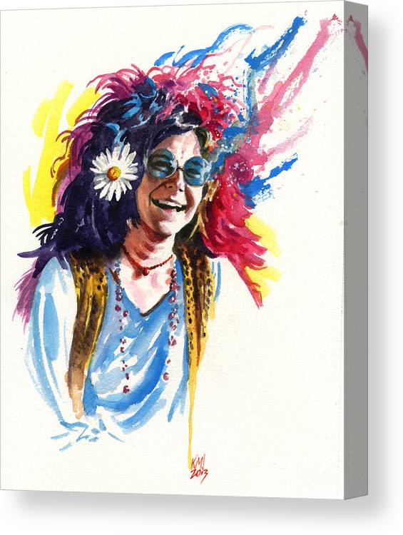 Janis Joplin Canvas Print featuring the painting Janis by Ken Meyer jr